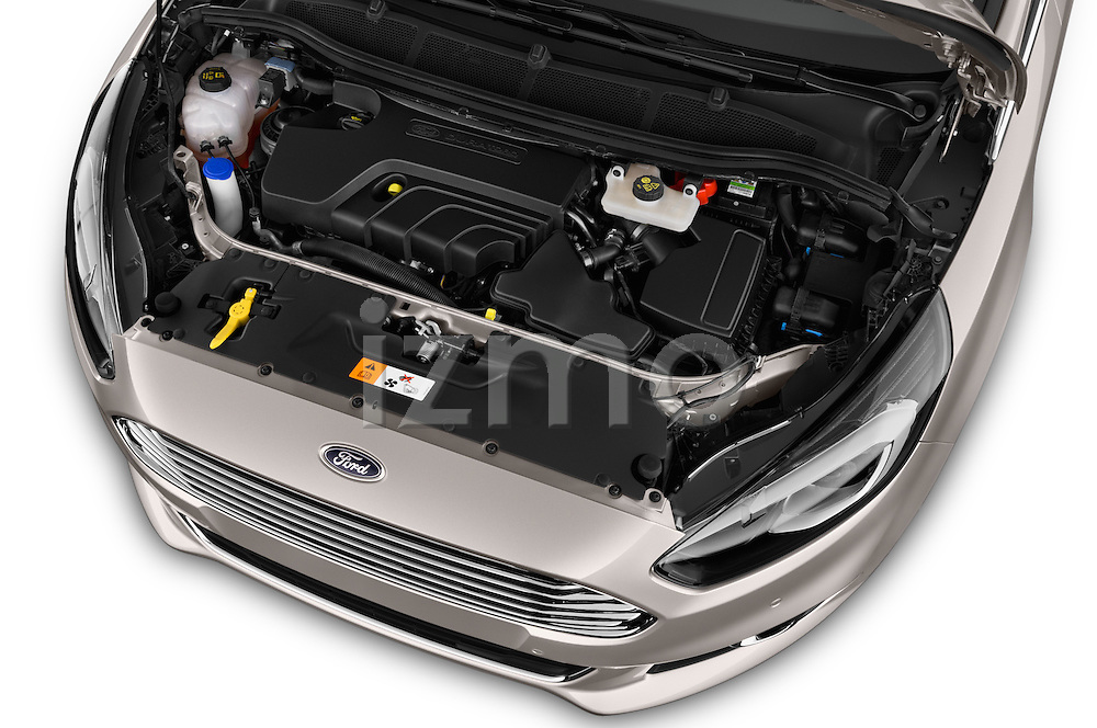 Car Stock 2016 Ford S-Max Titanium 5 Door Minivan Engine  high angle detail view