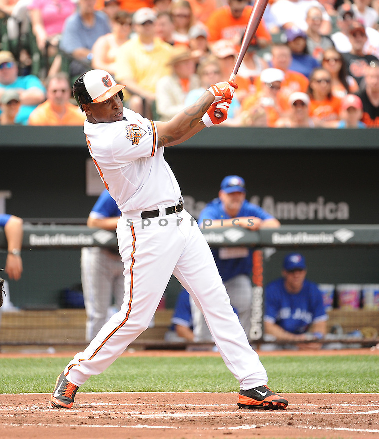 Baltimore Orioles Delmon Young (27) during a game against the Toronto Blue Jays on April 13, 2014 at Oriole Park in Baltimore, MD. The Blue Jays beat the Orioles 11-3.