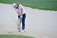 Bud Cauley (USA) hits from the trap on 17 during round 2 of the Valero Texas Open, AT&amp;T Oaks Course, TPC San Antonio, San Antonio, Texas, USA. 4/21/2017.<br /> Picture: Golffile | Ken Murray<br /> <br /> <br /> All photo usage must carry mandatory copyright credit (&copy; Golffile | Ken Murray)