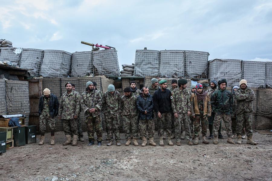 Call of the morning. All the soldiers have to gather except the ones on shift at the towers, Kunar, Afghanistan, 16th November 2017. <br /> <br /> Appel du matin. Tous les soldats doivent se rassembler à l'exception de ceux qui sont en poste dans les tours, Kunar, Afghanistan, le 16 novembre 2017.