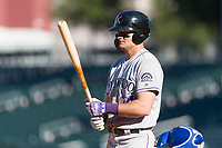 Salt River Rafters left fielder Sam Hilliard (14), of the Colorado Rockies organization, at bat during an Arizona Fall League game against the Mesa Solar Sox at Sloan Park on October 30, 2018 in Mesa, Arizona. Salt River defeated Mesa 14-4 . (Zachary Lucy/Four Seam Images)
