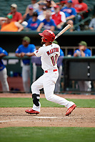 Memphis Redbirds right fielder Nick Martini (16) follows through on a swing during a game against the Iowa Cubs on May 29, 2017 at AutoZone Park in Memphis, Tennessee.  Memphis defeated Iowa 6-5.  (Mike Janes/Four Seam Images)