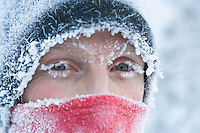 Frosty face in minus 38 degree fahrenheit temperatures during a Fairbanks, Alaska, January winter.
