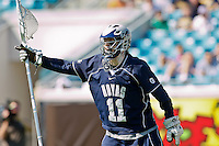 February 20, 2011:  Georgetown Hoyas goalie Jack Davis (11) during  Lacrosse action between the Georgetown Hoyas and Jacksonville Dolphins during the Moe's Southwest SunShine Classic played at EverBank Field in Jacksonville, Florida.  Georgetown defeated Jacksonville 14-11.