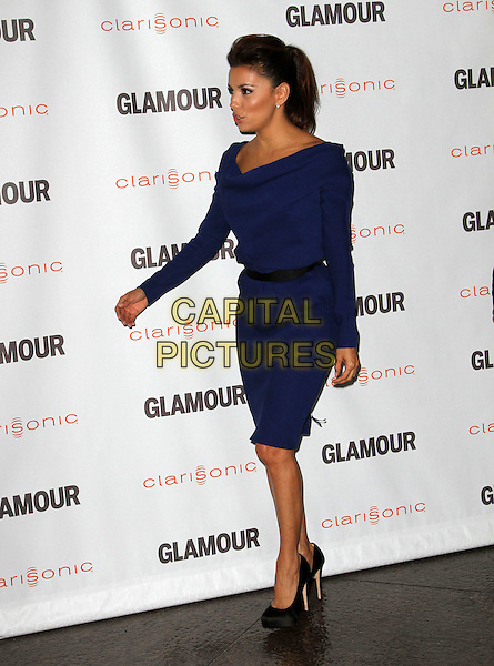 Eva Longoria.The Glamour Reel Moments held at The Directors Guild of America in West Hollywood, California, USA..October 24th, 2011.full length dress blue black belt shoes profile .CAP/ADM/KB.©Kevan Brooks/AdMedia/Capital Pictures.