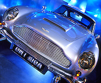 International Spy Museum (ISM).Washington, DC 9th & F Streets NW..Photographer: Mark Finkenstaedt.All Rights Reserved.. Permissions 703-237-8887 Permissions@mfpix.com.Caption: Replica Aston Martin Bond car featured in many of the early spy movies. Complete with bullet-proof shield, shredding tires, Machine guns and international revolving license plate.