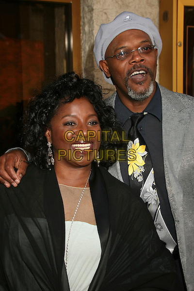 "LaTANYA RICHARDSON & SAMUEL L. JACKSON .""1408"" World Premiere at Mann's National Theatre, Westwood, California, USA..June 12th, 2007.half length glasses goatee facial hair black floral print tie kangol grey gray hat married husband wife .CAP/ADM/BP.©Byron Purvis/AdMedia/Capital Pictures"