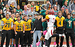 OCTOBER 4, 2014 -- Luke Whalen #87 of Black Hills State gets a reception over defender Colby Dixon #3 of Colorado Mesa during their Rocky Mountain Athletic Conference game Saturday at Lyle Hare Stadium in Spearfish, S.D.  (Photo by Dick Carlson/Inertia)