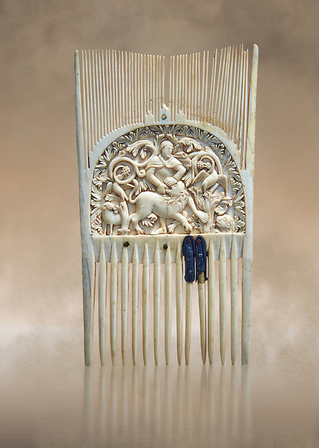 Medieval ivory comb with a central relief panel depicting David defeating a Lion. Third quarter of the 9th cent. AD from Metz. Inv. OA 354, The Louvre Museum, Paris.