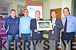 Pictured here at the AIB branch in Cahersiveen on Thursday last at a photo presentation to the All Ireland Junior Champions - St Mary's, were l-r; John Sugrue(Treasurer), Sean O'Shea(Secretary), John Fleming(Manager AIB Cahersiveen), John Alan O'Sullivan(Chairman St Mary's) & Austin Constable(AIB Cahersiveen).