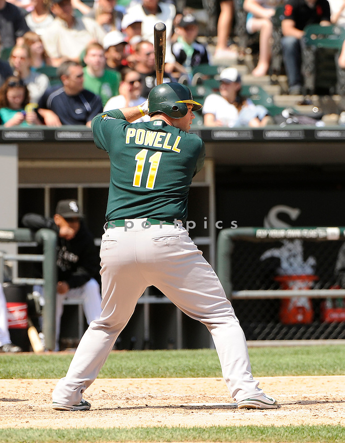 LANDON POWELL, of the Oakland A's, in action during the A's game against the Chicago White Sox on June 12, 2011 at US Cellular Field in Chicago, Illinois. The Sox beat the A's 5-4.