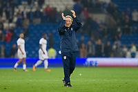 Cardiff City manager Neil Warnock claps the crowd at full time of the Sky Bet Championship match between Cardiff City and Leeds United at the Cardiff City Stadium, Cardiff, Wales on 26 September 2017. Photo by Mark  Hawkins / PRiME Media Images.