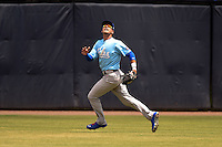 Daytona Cubs outfielder Albert Almora (6) chases down a fly ball during a game against the Tampa Yankees  on April 13, 2014 at George M. Steinbrenner Field in Tampa, Florida.  Tampa defeated Daytona 7-3.  (Mike Janes/Four Seam Images)