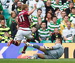 Andy Driver cuts the ball past the onrushing Artur Boruc and Gary Caldwell clears off the line to prevent a goal