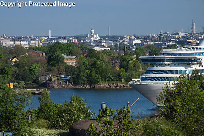 Silja ship leaving for Tallinn from Helsinki, as seen from Vallisaari island