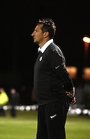 Kansas City, MO - Friday May 13, 2016: FC Kansas City head coach Vlatko Andonovski against the Chicago Red Stars during a regular season National Women's Soccer League (NWSL) match at Swope Soccer Village. The match ended 0-0.