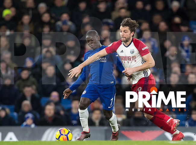 Ngolo Kante of Chelsea & Jay Rodriguez of WBA during the Premier League match between Chelsea and West Bromwich Albion at Stamford Bridge, London, England on 12 February 2018. Photo by Andy Rowland.