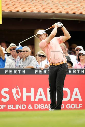 28.02.2016. Perth, Australia. ISPS HANDA Perth International Golf. Peter Uihlein (USA) tees off for his final round.