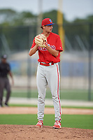 GCL Phillies West relief pitcher Tom Sutera (67) gets ready to deliver a pitch during a game against the GCL Blue Jays on August 7, 2018 at Bobby Mattick Complex in Dunedin, Florida.  GCL Blue Jays defeated GCL Phillies West 11-5.  (Mike Janes/Four Seam Images)