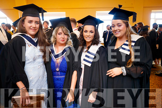 Kayleigh O'Connor (Killorglin, Information Systems Management), Doreen Brown O'Grady (Knocknagoshel, Information Systems Management) Sharon Lewis (Tralee, Office Information Systems) and Grace Moriarty (Listowel, Office Information Systems), all who graduated from IT Tralee, at the Brandon Conference, Tralee, on Friday last.