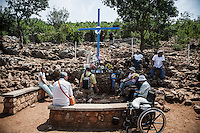 The Blue Cross shrine at the foot of the Podbro (the hill of the apparitions).<br /> Bijakovici, Medjugorje, Bosnia and Herzegovina.