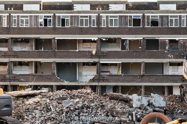 Demolition of Bacton Low Rise blocks on Gospel Oak Estate, Camden, London.