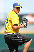 April 17, 2009:  Pitcher Carlos Vasquez of the Jacksonville Suns, Southern League Class-AA affiliate of the Florida Marlins, during a game at the Baseball Grounds of Jacksonville in Jacksonville, FL.  Photo by:  Mike Janes/Four Seam Images