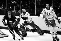 California Golden Seals vs Buffalo Sabres 1975<br />Goalie Gary Simmons and #15 Jim Neilson, Sabres Jacques Richard. (photo by Ron Riesterer)