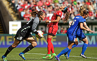 Portland, OR - Sunday, May 29, 2016: Portland Thorns FC forward Nadia Nadim (9) reacts to a missed scoring opportunity during a regular season National Women's Soccer League (NWSL) match at Providence Park.