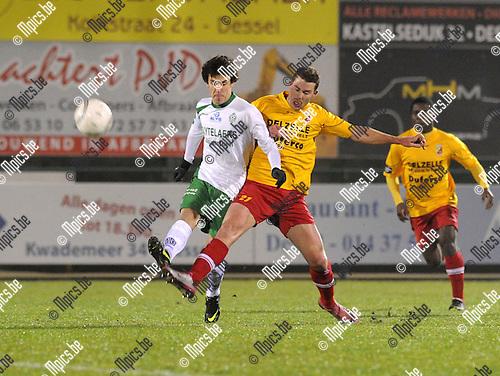 2012-12-19 / Voetbal / seizoen 2012-2013 / Dessel Sport - Tubeke / Hans Hannes (l. Dessel) met Vinamont..Foto: Mpics.be