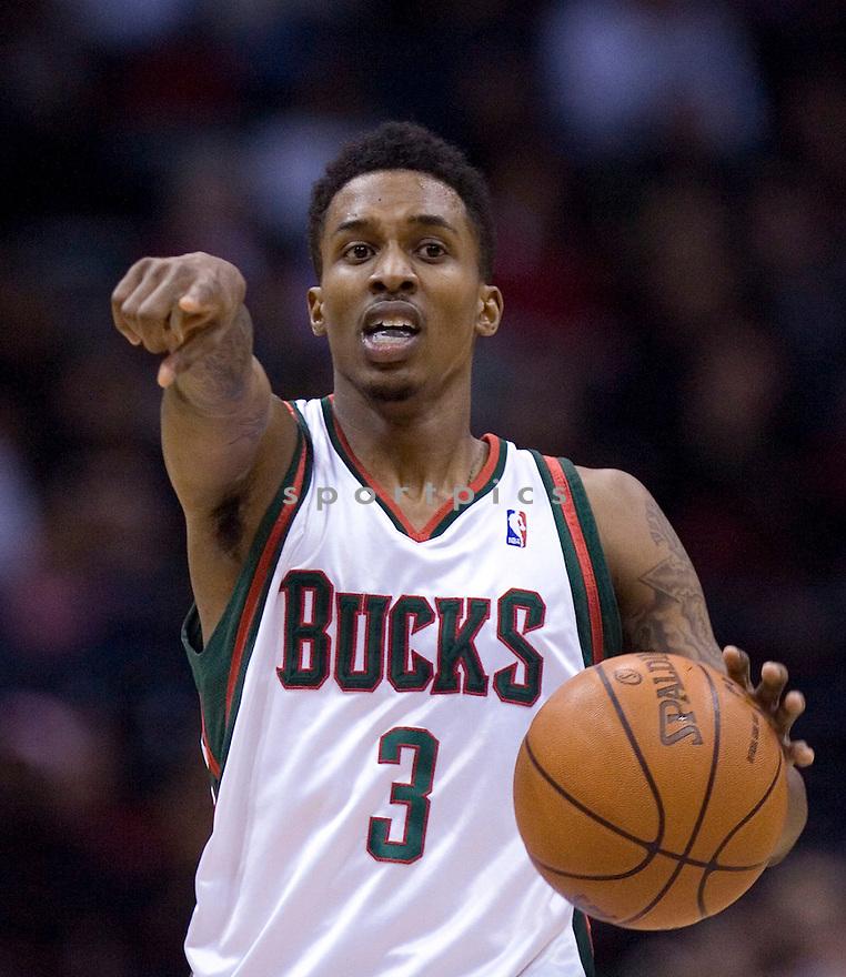 Brandon Jennings..January  30, 2010 Milwaukee, WI. Bradley Center...Milwaukee Bucks won over the Miami Heat 95-84