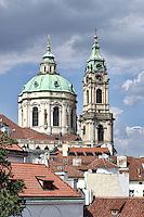 Sct Nicholas Church in Prague, photographed from Vrbovska baroque garden.