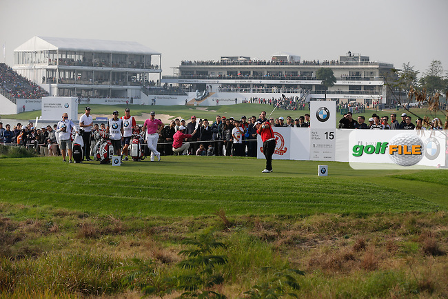 Patrick Reed (USA) on the 15th during the final round of the BMW Masters, Lake Malarian Golf Club, Boshan, Shanghai, China.  15/11/2015.<br /> Picture: Golffile   Fran Caffrey<br /> <br /> <br /> All photo usage must carry mandatory copyright credit (&copy; Golffile   Fran Caffrey)