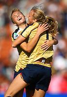 USA goal scorer Courtney Verloo celebrates with team mate Kristie Mewis..FIFA U17 Women's World Cup, USA v Korea Republic, Waikato Stadium, Hamilton, New Zealand, Sunday 9 November 2008. Photo: Renee McKay/PHOTOSPORT