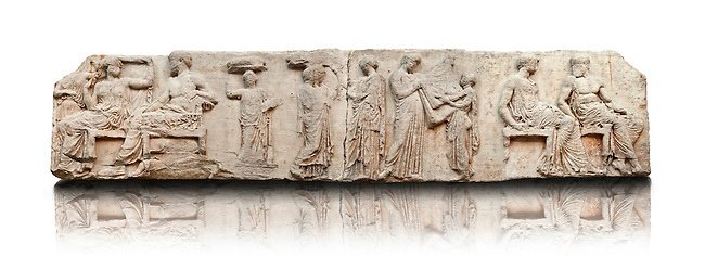 Marble Releif Sculptures from the east frieze around the Parthenon Block V 28 to 37 . From the Parthenon of the Acropolis Athens. A British Museum Exhibit known as The Elgin Marbles. This frieze depicts the goddess Athena & Zeus