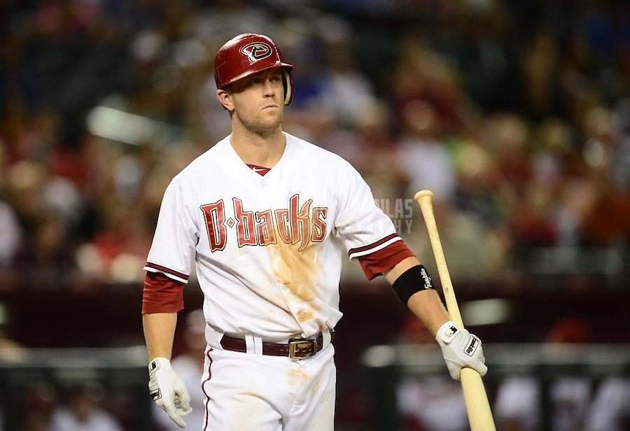Jul. 3, 2012; Phoenix, AZ, USA: Arizona Diamondbacks second baseman Aaron Hill against the San Diego Padres at Chase Field. Mandatory Credit: Mark J. Rebilas-