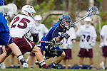 Los Angeles, CA 02/18/11 - Tyler Monteath (BYU #5) and Michael Hanover (LMU #25) in action during the Loyola Marymount - BYU game at LMU.