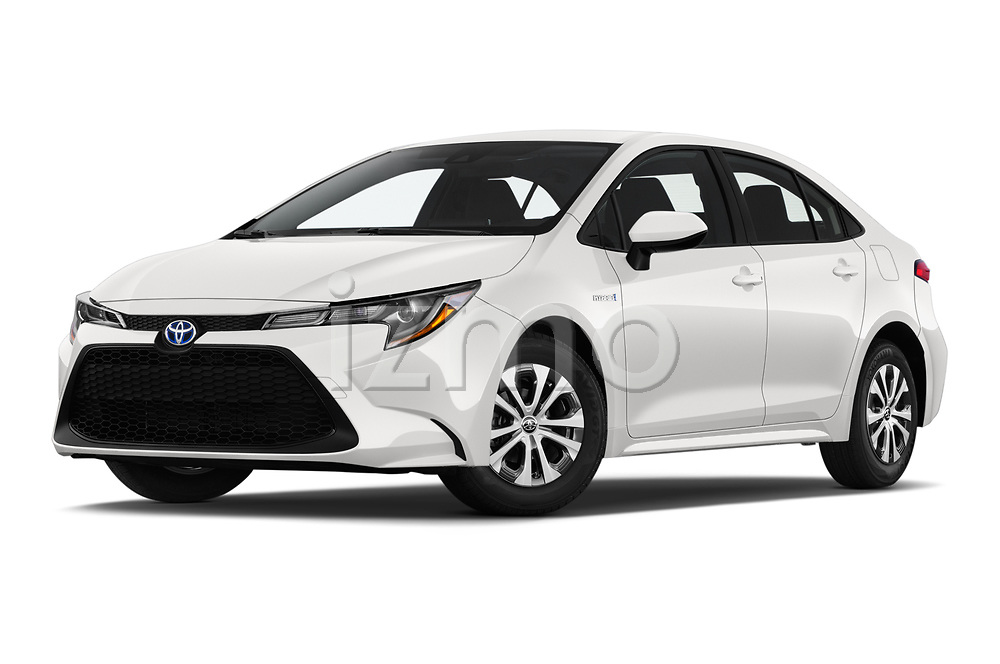 Stock pictures of low aggressive front three quarter view of 2020 Toyota Corolla-Hybrid LE 4 Door Sedan Low Aggressive
