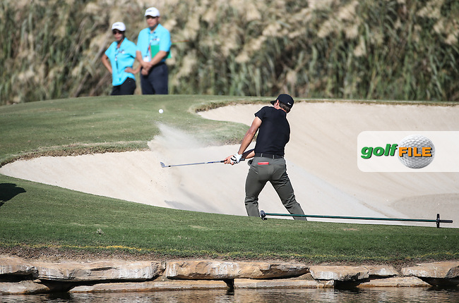 Thorbjorn Olesen (DEN) in action at the 17th during Round Two of the DP World Tour Championship 2016, played at the Jumeirah Golf Estates, Dubai, United Arab Emirates. 18/11/2016. Picture: David Lloyd | Golffile.<br /> <br /> All photo usage must display a mandatory copyright credit as: &copy; Golffile &amp; David Lloyd.