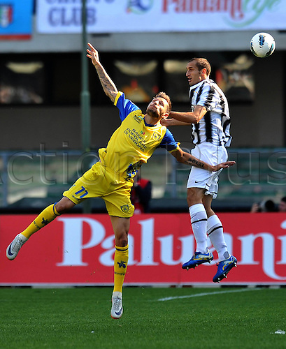 16 10 2011  Giorgio Chiellini Juventus and Cyril TREREAU Chievo Verona challenge for a high ball. Verona  Stadio Marcantonio Bentegodi Series A 2011 2012 Football Calcio Chievo Verona vs Juventus  . Mandatory Credit: Actionplus
