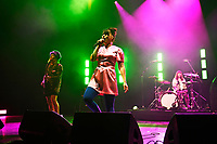 LONDON, ENGLAND - JUNE 10: Dawn Lyle, Kathleen Hanna and Tobi Vail of 'Bikini Kill' performing at Brixton Academy on June 10, 2019 in Brixton, England.<br /> CAP/MAR<br /> ©MAR/Capital Pictures