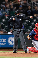 Umpire David Arrieta Quintero calls a batter out on strikes during a Pacific Coast League game between the Omaha Storm Chasers and the Memphis Redbirds on April 26, 2019 at Werner Park in Omaha, Nebraska. Memphis defeated Omaha 7-3. (Zachary Lucy/Four Seam Images)