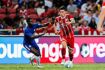 Bayern Munich Midfielder James Rodríguez (R) in action against Chelsea Midfielder Jeremie Boga (L) during the International Champions Cup match between Chelsea FC and FC Bayern Munich at National Stadium on July 25, 2017 in Singapore. Photo by Marcio Rodrigo Machado / Power Sport Images