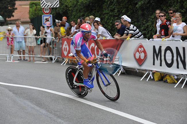 Lampre-N.G.C. team rider Marco Bandiera (ITA) exits the hairpin during the Prologue Stage 1 of the 2009 Tour de France a 15.5km individual time trial held around Monaco. 4th July 2009 (Photo by Eoin Clarke/NEWSFILE)
