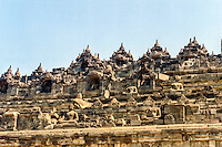 Java, Central Java, Borobodur. Borobudur has six square platforms topped by three circular platforms.