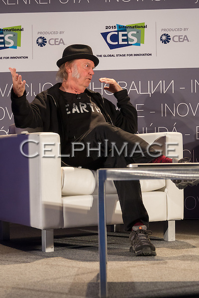 "NEIL YOUNG. Presentation ""Neil Young on Why High-Resolution Music Matters"" at the 2015 Consumer Electronics Show, Las Vegas Convention Center. Las Vegas, NV, USA. January 7, 2015. ©CelphImage."