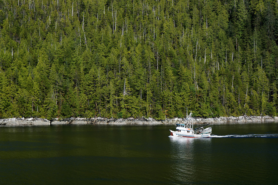 Commercial fishing vessel Iver P Nore in Tolmie Channel, Inside Passage, British Columbia, Canada