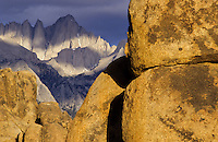 Mount Whitney seen from Owens Valley with round boulders, Sierra Nevada, California, USA