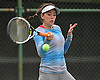 Ashley Lessen of Wheatley returns a volley from Locust Valley's Alex Koniaev during the Nassau County varsity girls' tennis singles consolation final (third place match) at Eisenhower Park on Sunday, October 18, 2015.<br /> <br /> James Escher