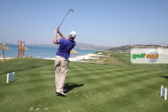 Richie Ramsay (SCO) on the 8th tee on the 1st Day of the 2012 Sicilian Open at Verdura Golf and Spa Resort...(Photo Jenny Matthews/www.golffile.ie)